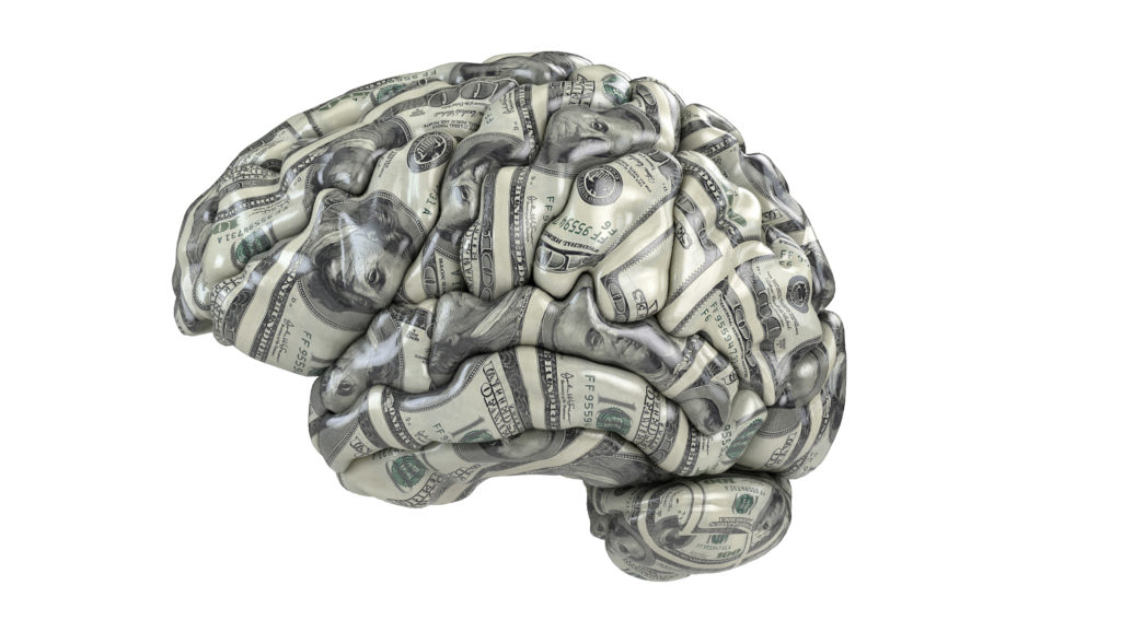 Human brain whith dollars texture isolated on white. Concept 3d
